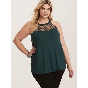Torrid Super Soft Lace Inset High Neck Tank Top